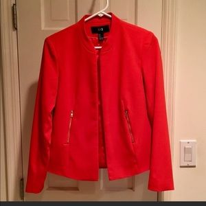 Bright Red Open Front Blazer